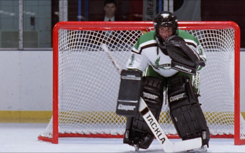 Cooper Hockey Goalie Equipment and Tackla Hockey Stick in D2 The Mighty Ducks (1994)