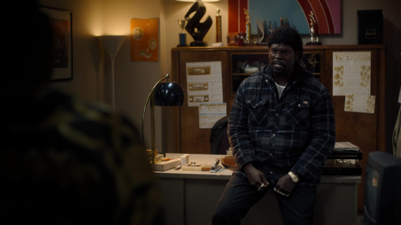Dickies Quilted Plaid Shirt Jacket (Hooded) in Snowfall S04E08 TV Show (1)