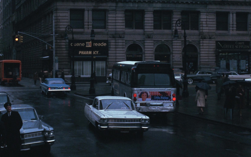 Duane Reade Pharmacy Store and Little Debbie Advertising on the Bus in Catch Me If You Can (1)