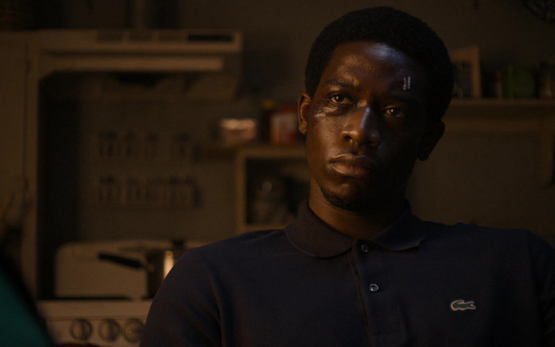 Lacoste Blue Long Sleeved Polo Shirt Worn by Actor Damson Idris as Franklin Saint in Snowfall S04E09 TV Show (1)