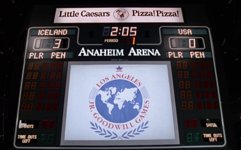Little Caesars Pizza Ad on the Scoreboard in D2 The Mighty Ducks (1994)