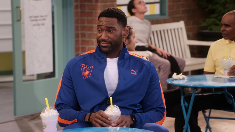 Puma Blue Tracksuit of Anthony Alabi as Moz McKellan in Family Reunion S03E05