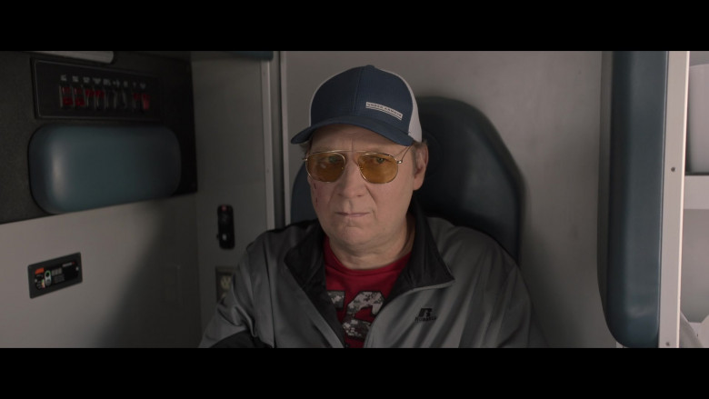 Russell Athletic Men's Jacket and Under Armour Cap in Made For Love S01E06 I Want to Know That You Care (2021)