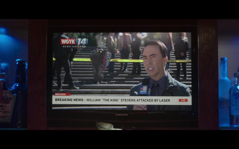 Samsung TV, Belvedere and Absolut Vodka Bottles in Thunder Force (2021)