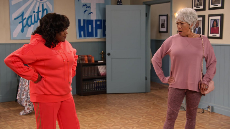 adidas x IVY PARK Orange Hoodie and Pants of Loretta Devine as M'Dear in Family Reunion S03E08 (4)