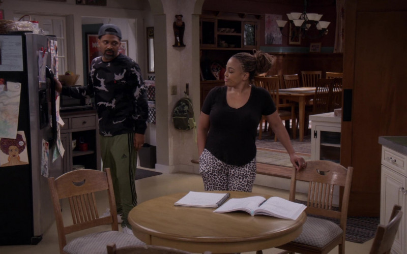 Adidas Green Track Pants of Mike Epps as Bennie Upshaw in The Upshaws S01E10 The Backslide (2021)