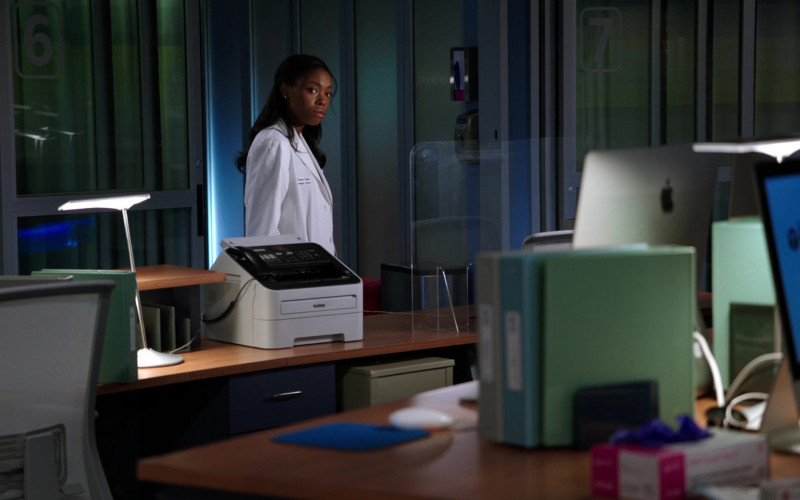 Brother Fax Machine and Apple iMac PC in Chicago Med S06E14 A Red Pill, a Blue Pill (2021)