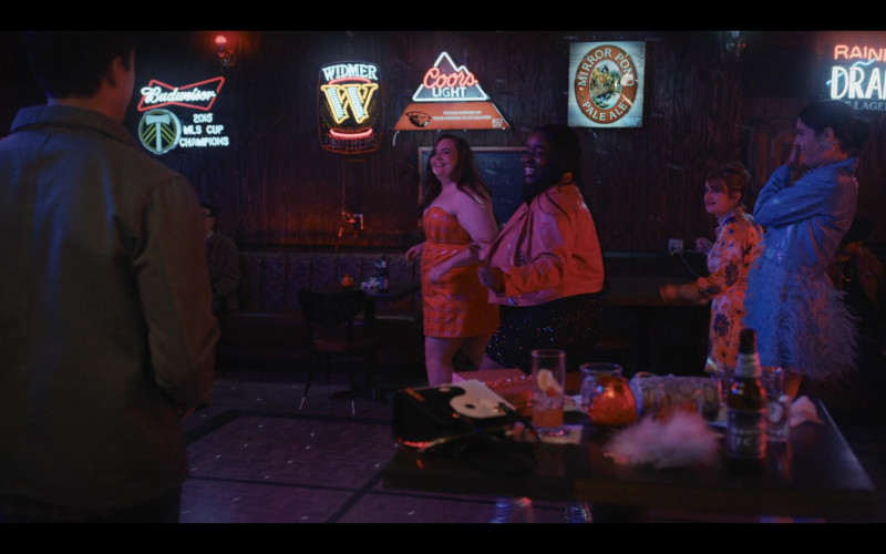Budweiser Beer, Widmer Brothers Brewery, Coors Light, Mirror Pond Pale Ale by Deschutes Brewery and Rainier Draft Signs in Shrill S03E03 Retreat (2021)