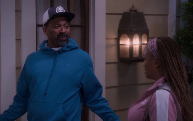 Champion Blue Hoodie Worn by Mike Epps as Bennie Upshaw in The Upshaws S01E10 The Backslide (2021)
