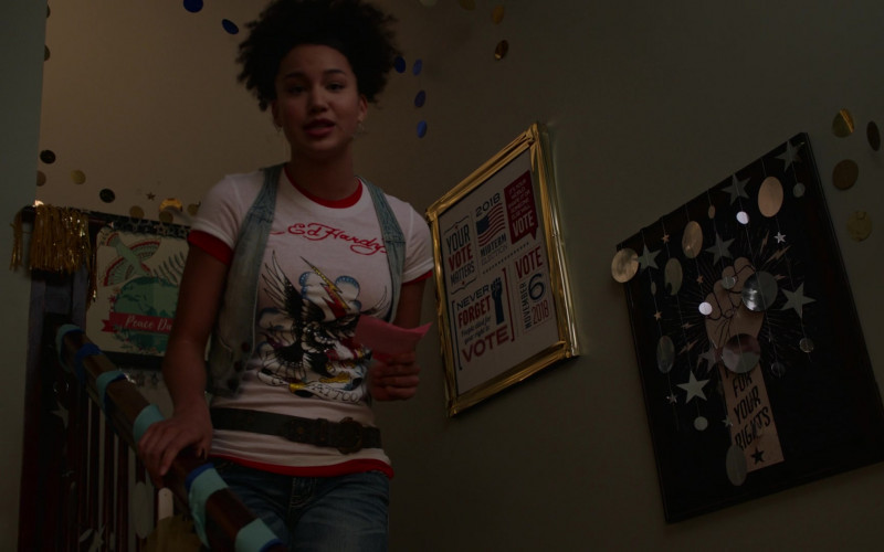 Ed Hardy Women's T-Shirt of Sofia Wylie as Gina Porter in High School Musical The Musical The Series S02E01 (1)