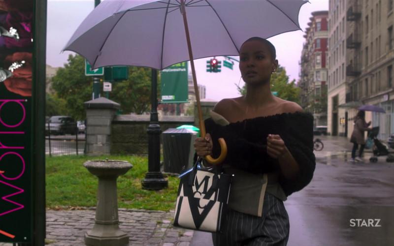 MCM Glitch Logo Canvas Tote Bag of Andrea Bordeaux as Ella McFair in Run The World S01E03 (1)
