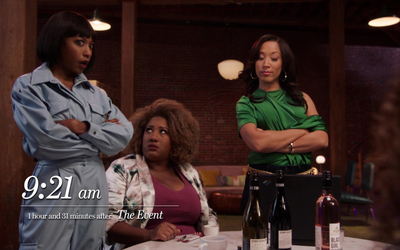 Maison Noir O.P.P. (Other People's Pinot) Wine and McBride Sisters Collection Black Girl Magic Rosé Wine in A Black Lady Sketch Show S02E04 My Booty Look Juicy, Don't It (2021)