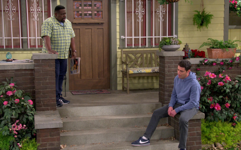 Nike Cortez Navy Blue Sneakers of Max Greenfield as Dave in The Neighborhood S03E16 (3)