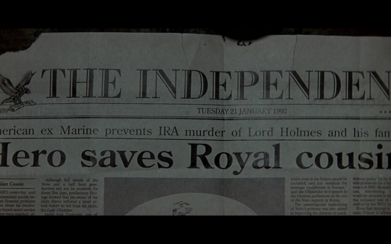 The Independent Newspaper in Patriot Games (1992)