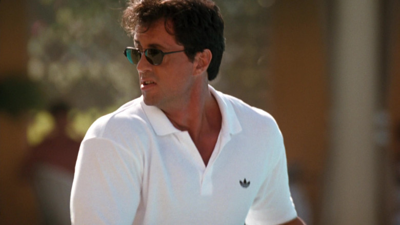 Adidas White Polo Shirt Worn by Sylvester Stallone as Captain Ray Quick in The Specialist 1994 Movie (2)