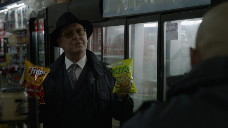Fritos Chips and Funyuns Snacks Held by James Spader as Raymond 'Red' Reddington in The Blacklist S08E20 Godwin Page 2021