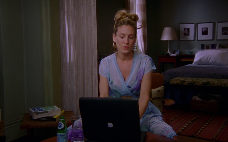 S.Pellegrino Sparkling Water and Apple Powerbook Laptop of Sarah Jessica Parker as Carrie Bradshaw in Sex and the City S03E07 Drama Queens (2000)