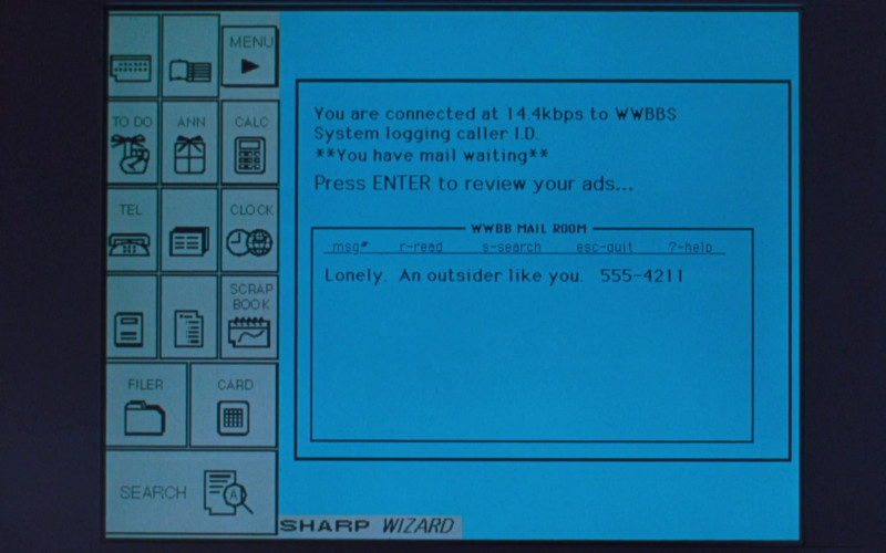Sharp Wizard electronic organizer in The Specialist (1994)