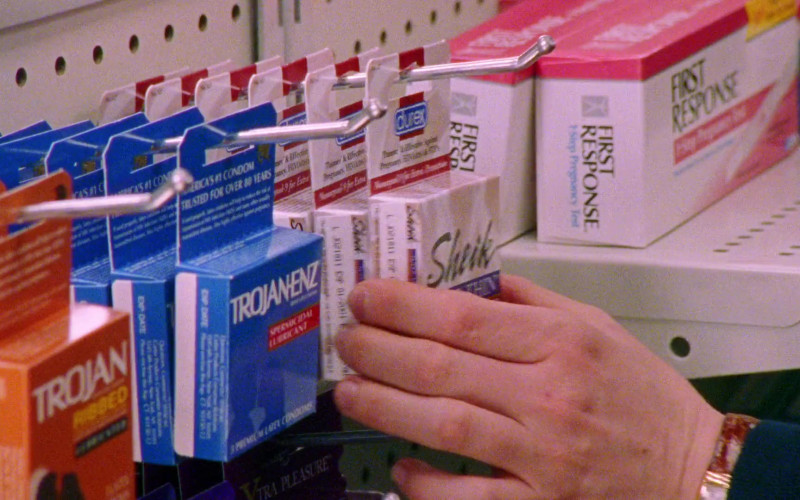 Trojan and Durex Condoms, First Response Test in Sex and the City S01E10 The Baby Shower (1998)