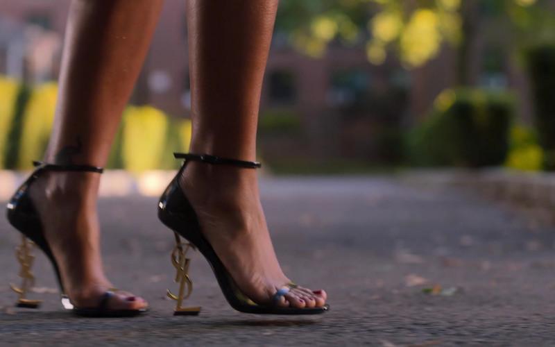 YSL Saint Laurent High Heel Sandals Worn by Bresha Webb as Renee Ross in Run The World S01E04 TV Show (1)