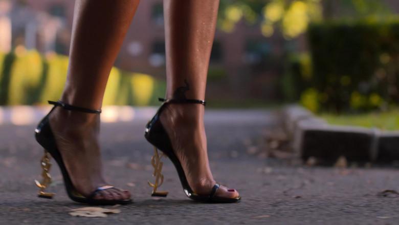 YSL Saint Laurent High Heel Sandals Worn by Bresha Webb as Renee Ross in Run The World S01E04 TV Show (2)